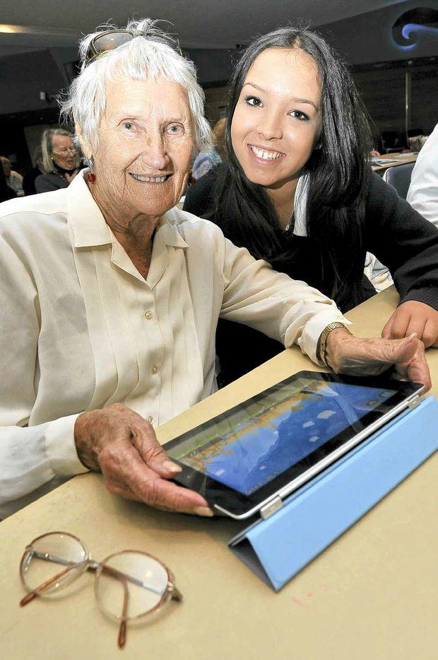 Ruby Rafferty, 86, with her tutor, Nikayla Pepin, 15, and an iPad Mrs Rafferty was learning to use.