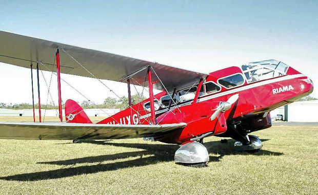 Des Porter's restored biplane, one of only four in the world, soaks up the sun at Caboolture Airport.