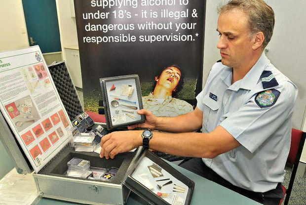 CONSCIOUSNESS RAISER: Crime Prevention Unit's Sergeant Nigel Dalton with his educational drug kit.