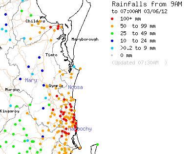 Rainfall from 9am Saturday June 2 to 7am Sunday June 3.