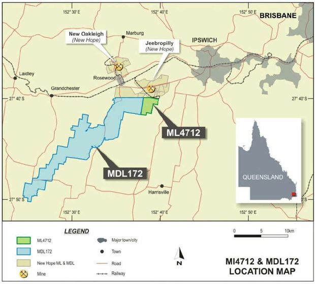 A map of the Ipswich region's mining leases released to the Australian Stock Exchange by OGL.