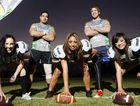 Ladies Football League players meet with Ipswich Jets players at a training session – (from left) Simone Smith, Jayson Rego, Tautala Schultz, Keiron Lander and Mellody Arrowsmith.