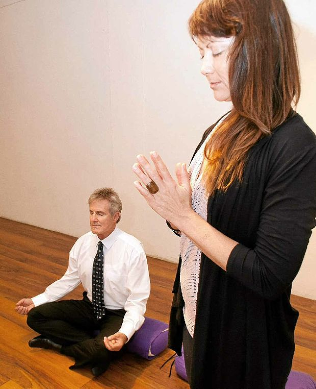 Natasha Patten teaches Paul Hackney the art of meditation.