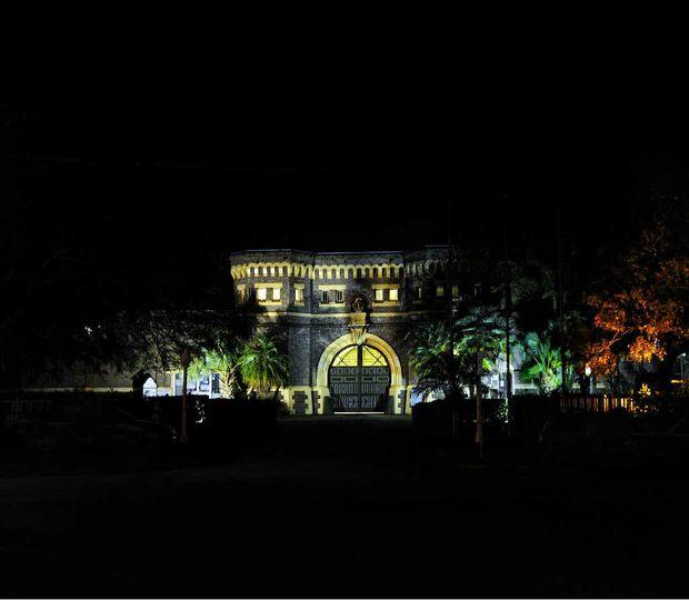 Grafton jail at night.