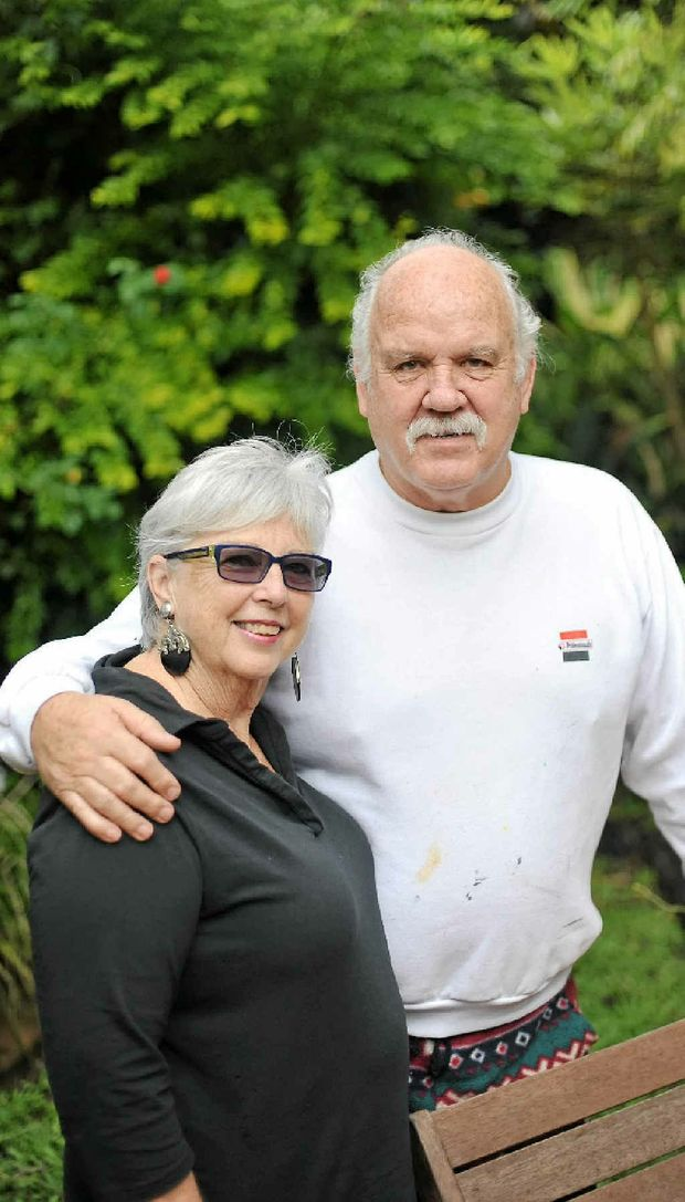 Artist Roger Saunders with his wife Christine.