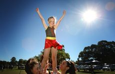 A NAIDOC gala sports day was held at at Arkinstall Park. Kiara Peters, 7, is on top of the world with help from Keily Foster, Kloe Kane and Abbey Olivares.