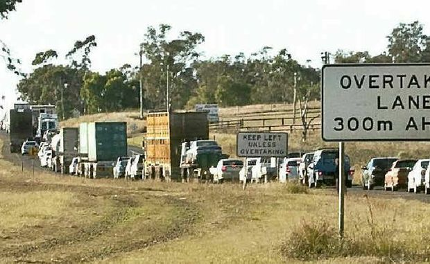 UNDER PRESSURE: Truckies face mounting pressure to get their loads delivered on time and comply with fatigue management. These trucks were recently caught in traffic backed up on Warrego Hwy due to a car crash.