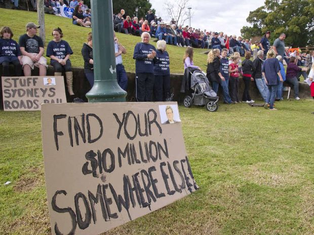 The signs said it all at the Save the Jail rally at Memorial Park.