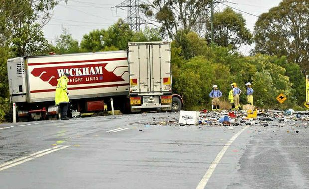 The scene on the New England Highway south of Toowoomba yesterday afternoon.