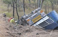 The fatal truck accident that occurred this morning.