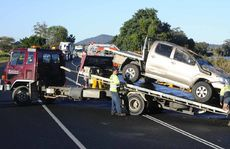 Accident on the Pacific Hwy near Tyndale where a ute crashed through the guard rail on the river side.
