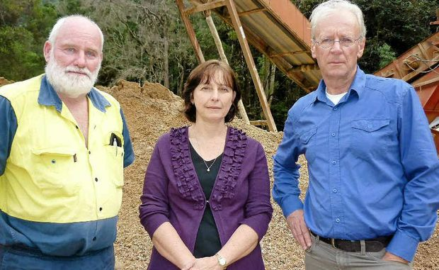 Quarry owners Ray and Wendy Sandercock with Tweed Shire Council mayor Barry Longland.