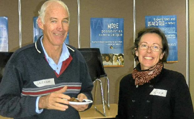 OUT AND ABOUT: Graham Cooke and Lisa Cleary at the Warwick workshop.