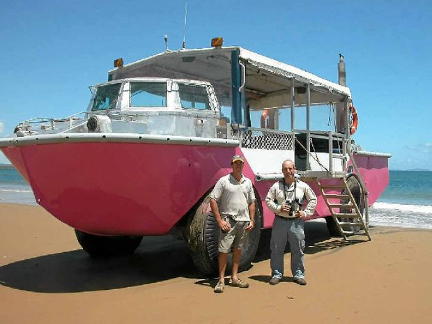 The pink amphibious LARCS are a well-known tourism attraction on The Discovery Coast.