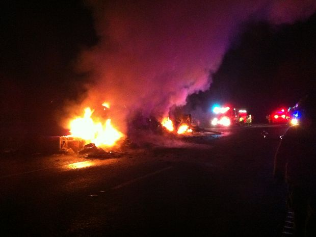 A truck caught on fire last night and brought traffic to a standstill on the Bruce Highway.