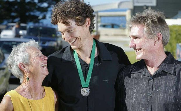 Newly named Clarence Valley Ambassador Cameron Pilley with his mum Sue and dad Steve after the presentation.