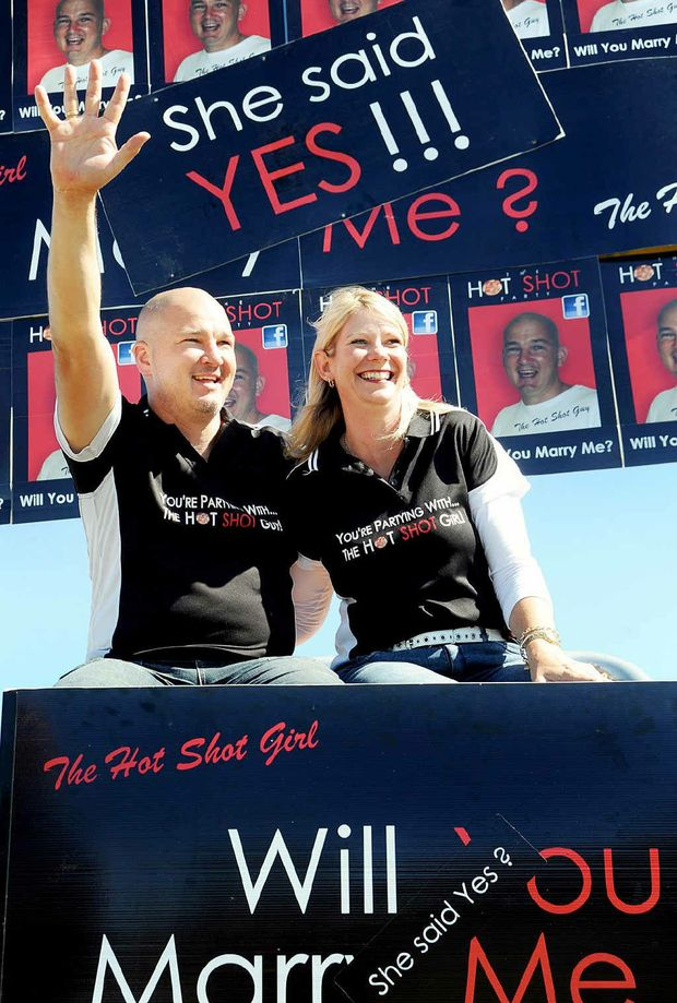 Gail Witt-Parry agreed to marry Myles Simons after he popped the big question with the help of an advertising billboard.