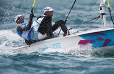 Malcolm Page and Mathew Belcher won the men's 470 dinghy gold medal.
