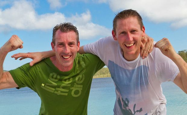 Shane and Andrew celebrate at Fraser Island.