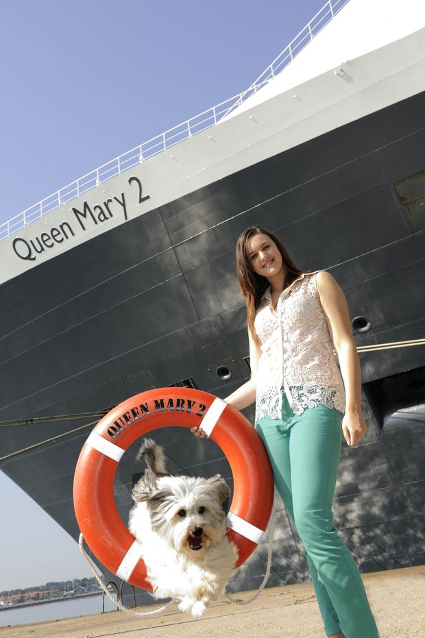 Ashleigh Butler and Pudsey with Queen Mary 2.
