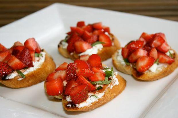 Miss Foodie's Balsamic Strawberry and Goats Cheese Bruschetta.
