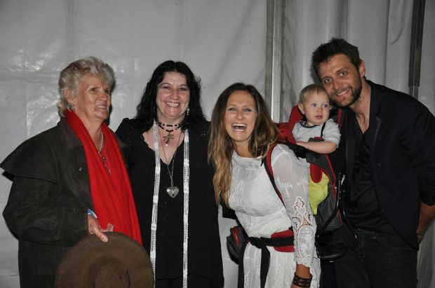 Competition winners Pat Johnston (left) and Patricia Finn met Kasey Chambers and Shane Nicolson and their daughter Poet at the Optus Gympie Music Muster on Friday night.