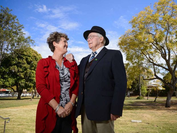 The 2012 Jacaranda Festival Matron of Honour Pauline Glasser and Guest of Honour Roy Bowling discuss the history of the local event at Market Square.