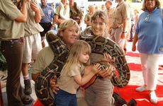 Steve, Terri and Bindi Irwin at the opening of the Crocodile Hunter's 'Collision Course' movie at Sunshine Plaza.