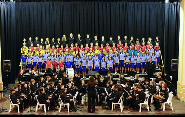 The Northern Beaches Concert Band combined with choirs from Grafton, Lawrence, Gillwinga and Nymboida public school perform at the Saraton Theatre on Wednesday night. Photo: Adam Hourigan