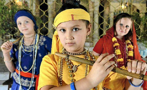 Malini, Asarvari and Latita preparing for the festival.