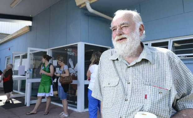 Bruce Leonard in front of the Bruce Leonard Pavilion, named in his honour yesterday. Photo JoJo Newby