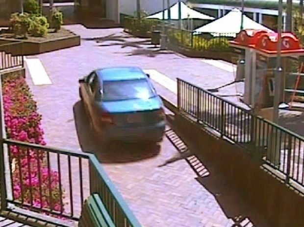 WRONG TURN: Footage of the car entering the mall.