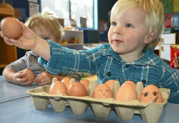 Emmett Schnitzerling shows off his eggs for World Egg Day.