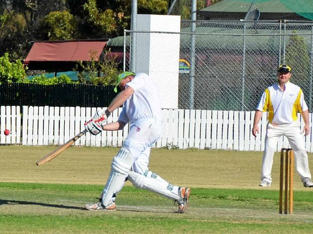 Inglewood captain David Elsley hits a six at Slade Park on Sunday against Diggers.