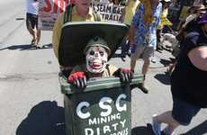 A marcher making a trashy statement against coal-seam gas.