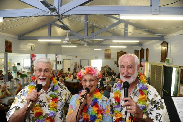 Feankie and the Grey J's Band members, from left, John Church, Joy Lauder, and Frank Whincup at the Tartan Brushy RSL Day Club over 90 year olds celebrations in Brushgrove. Photo: JoJo Newby / The Daily Examiner