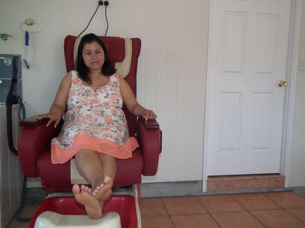 Yashoda Paudyal in her in-home beauty salon.