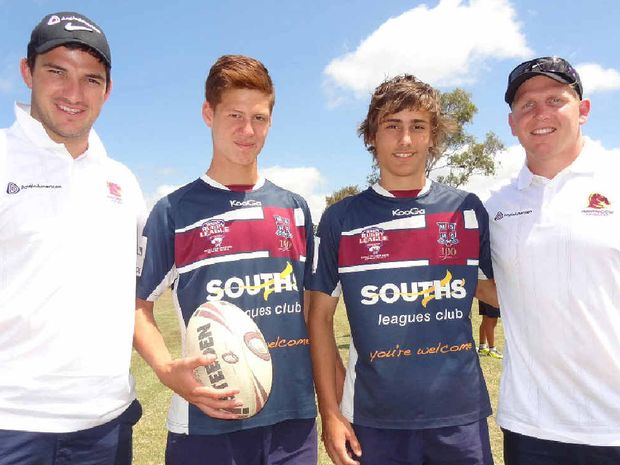 YOUNG TALENT: Broncos players Matt Gillett, left, and Ben Hennant caught up with scholarship holders Kalyn Ponga and Ashton Windsor.