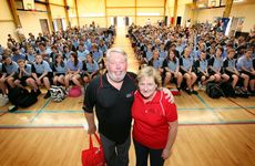 Bruce and Denise Morcombe visit a school to talk child safety.