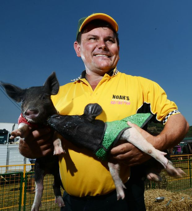 Kev Kiley with his racing pigs. Photo Patrick Gorbunovs / The Northern Star