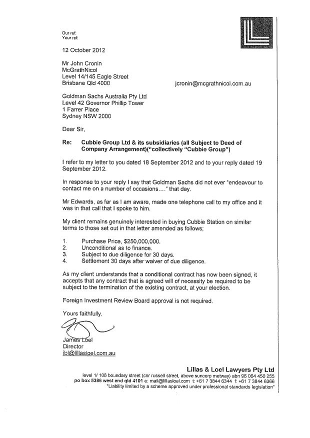 AUSSIE OFFER: This letter from solicitor James Loel to McGrathNicol shows an Australian entity made a $250 million bid for Cubbie Station on September 18.
