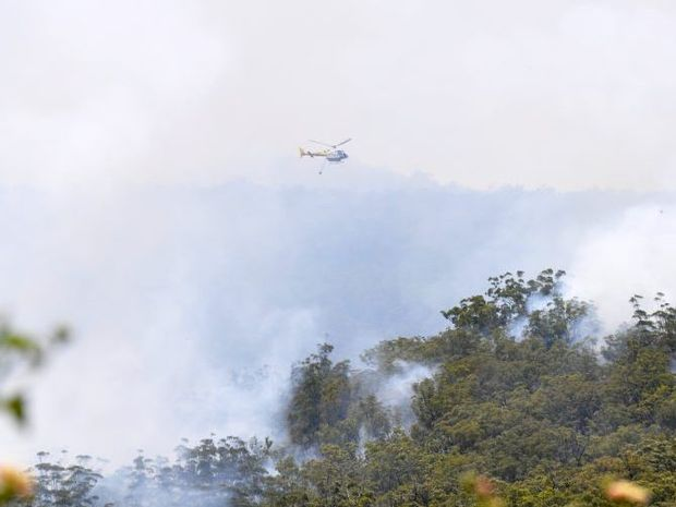 Water bombers are being used to control the bushfire near Dalby.