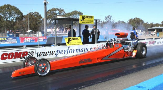 Warwick racer Ian Ham in his modified Dragster.