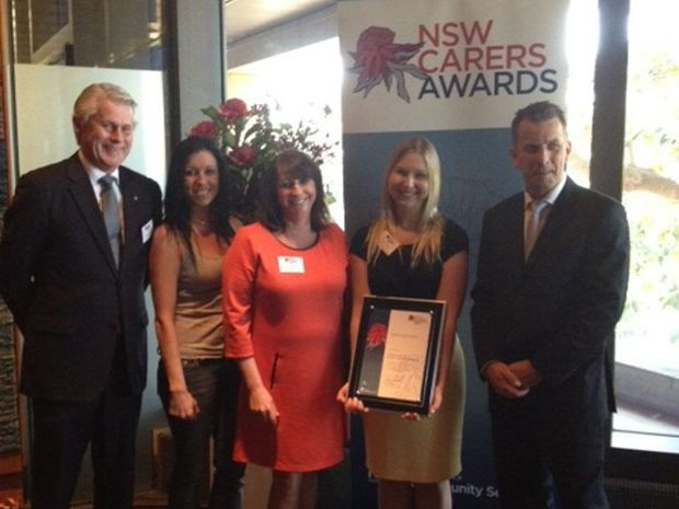 NSW Carers Awards at Parliament House: MP Geoff Provest, Owana Stacey (mother of NKC participant), Leone Crayden (On Track CEO), Caroline Haydon (NKC Caseworker), Minister for Ageing and Disability Andrew Constance. Photo: Contributed