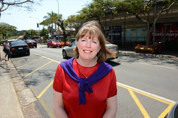 Business connector Michelle Hamer in the main street of Buderim.