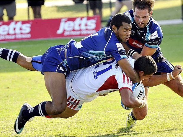 The Sunshine Coast Sea Eagles hammer Redcliffe's Dane Gagai, now with the Newcastle Knights, earlier this year.