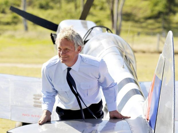 Terry Kronk with his Spitfire replica. Air and Land Spectacular at Emu Gully. Photo Dave Noonan / The Chronicle