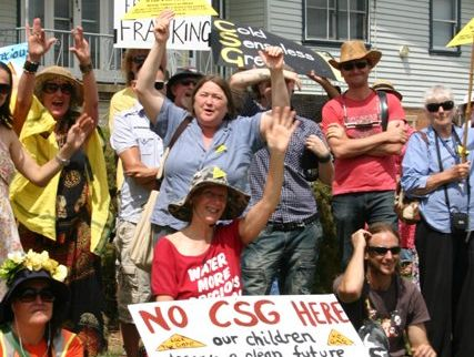 Approximately 200 people rallied outside Metgasco's Casino office this morning.