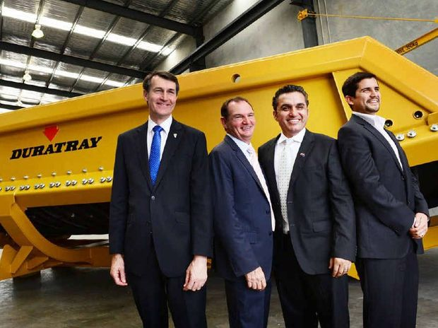 HAPPY GROUP: Graham Quirk and Paul Pisasale with Conymet Duratray managing directors, Marco and Matias Medel.