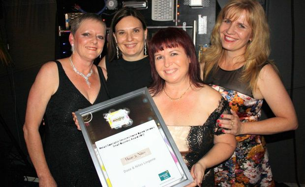 Retail, Specialist Services - Small: Daze & Nites Lingerie, Coral Brown, left, Inger Myatt, Julie Simon-Green and Karena Dunn at the Sunshine Coast Business Awards 2012